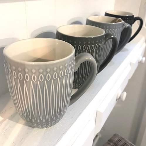 Set of 4 Grey Coffee Mugs