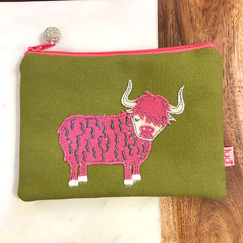 Green Highland Cow Cosmetic Purse
