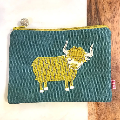 Teal Highland Cow Cosmetic Purse