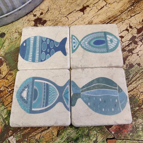 Blue Fish Coasters
