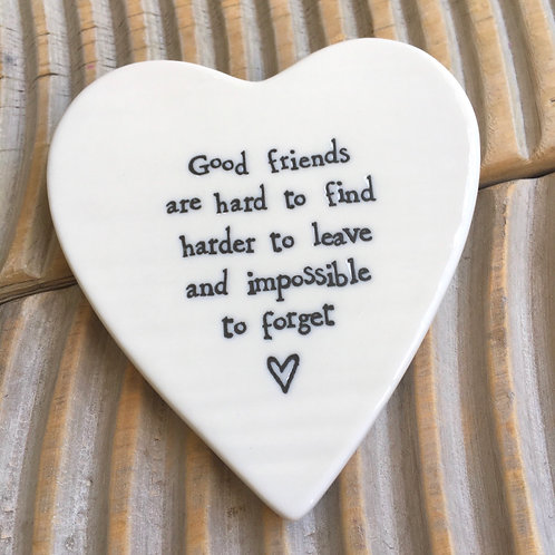 Good friends are hard to find porcelain heart coaster east of india gift