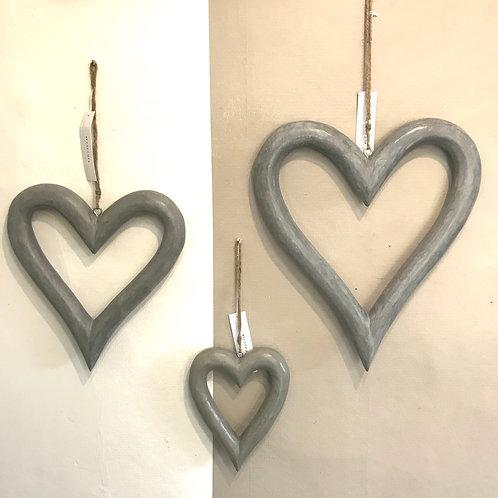 Grey Wooden Hearts