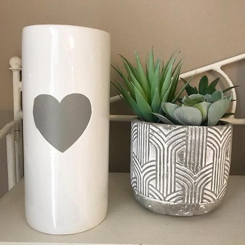 Ceramic White Heart Vase