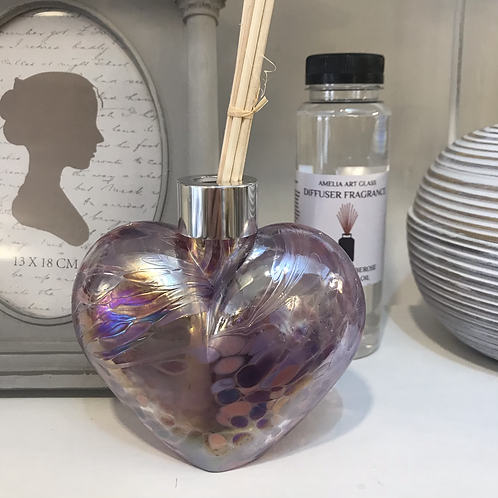 Pearlescent Pink Glass Heart Fragrance Diffuser Close-Up