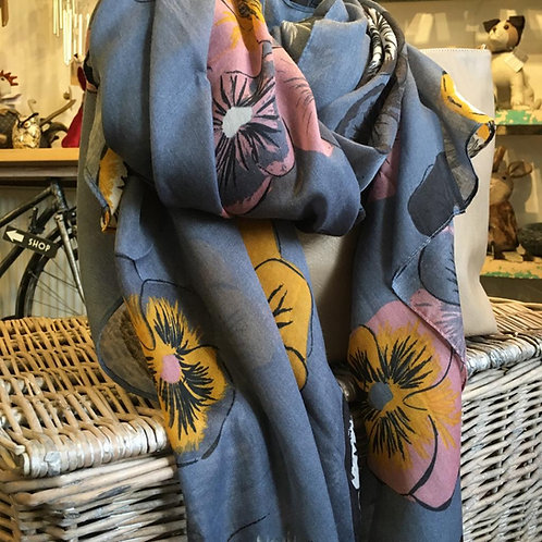 Blue Grey Pansy Scarf Ladies Gift