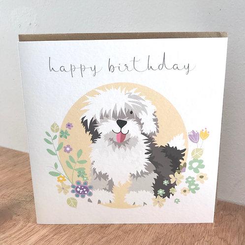 Happy Birthday Old English Sheepdog Card