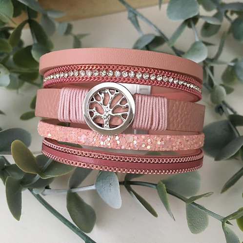 Pink Tree of Life Wrap Bracelet