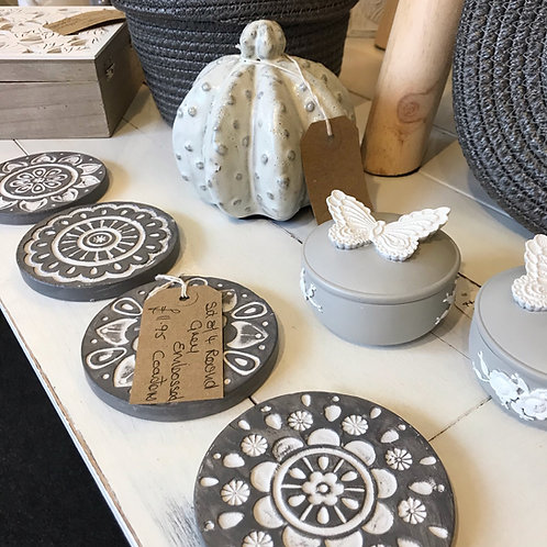 Round Grey Embossed Coasters