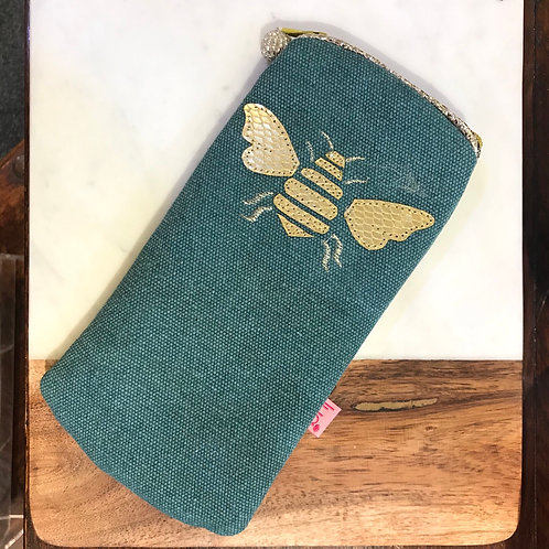 Teal Bee Glasses Purse