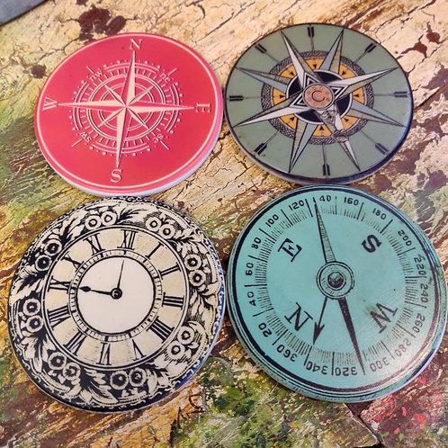 Round Compass Coasters