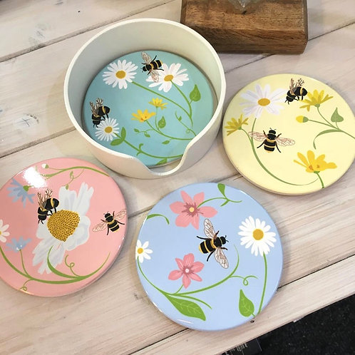 Set of Four Bee Coasters