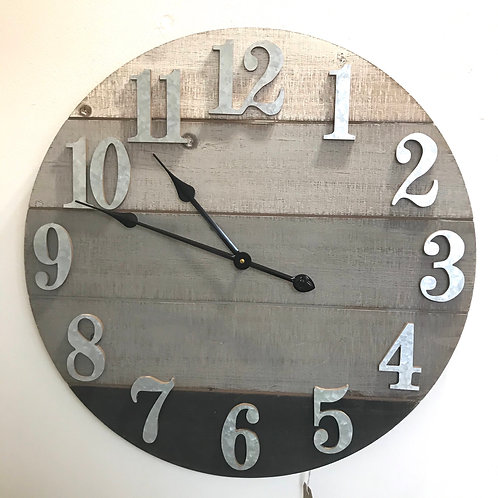Grey Plank Clock