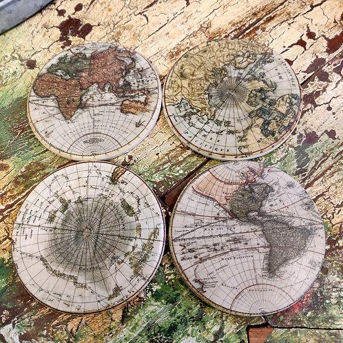 Round World Map Coasters
