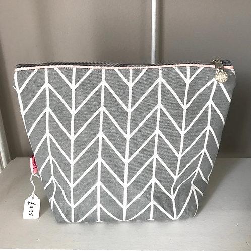 Grey Chevron Cosmetic Bag