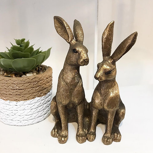 Pair of Sitting Hares