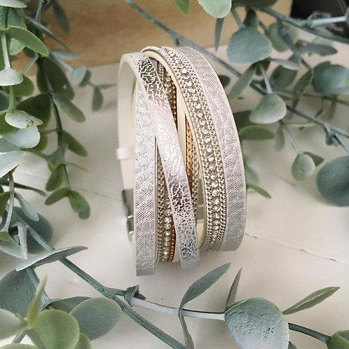Crossed Silver Wrap Bracelet