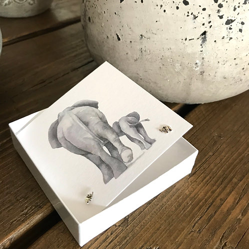 Sterling Silver Elephant Earrings On A Gorgeous Greeting Card Front View