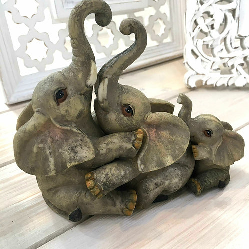 Elephant Family Cute Love Cuddle Resin Ornament
