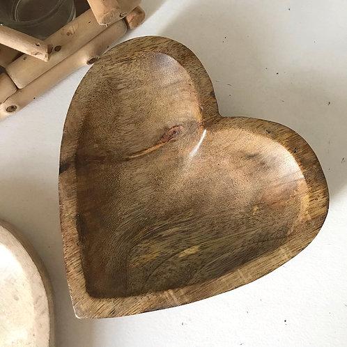 Wooden Heart Dish Mango Wood Gift Wedding Anniversary Love Shop Hinckley