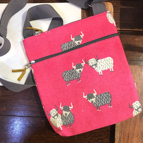 Hot Pink Highland Cow Handbag