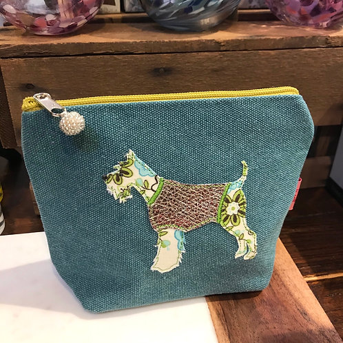 Teal Dog Cosmetic Bag