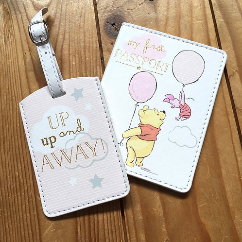 Disney My First Passport Holder & Luggage Tag Piglet and Pooh Pink Girls
