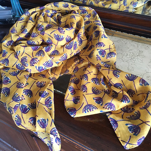 Floral Breeze Mustard and Purple Scarf