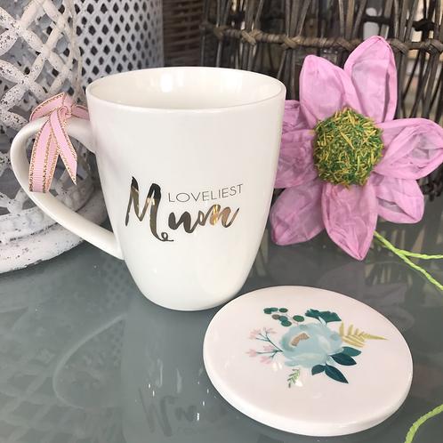 Loveliest Mum Mug and Coaster