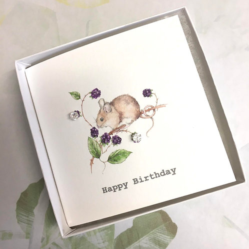 Super Sweet Mouse Diamante Earrings Sterling Silver Happy Birthday