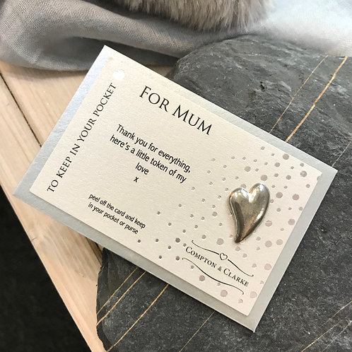 For Mum Heart Pewter Pocket Charm Side View With Envelope