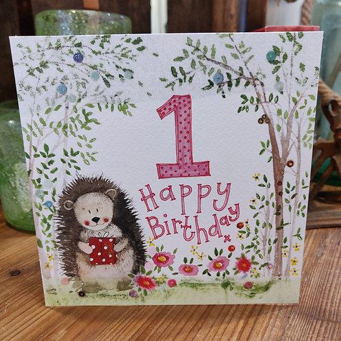 Age Birthday Greeting Card Alex Clark 1 Hedgehog