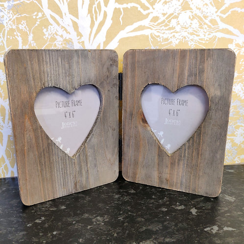 Driftwood Double Heart Photo Frame Wood Sustainable Gift