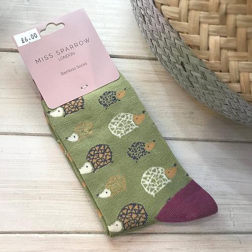 Olive Hedgehog Socks