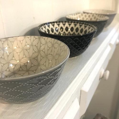 Set of 4 Grey Bowls