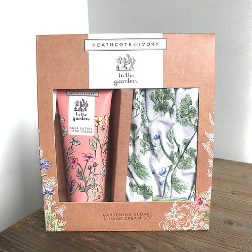 Heathcote & Ivory Gardening Gloves and Hand Cream Set