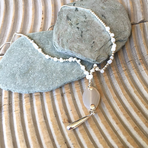 Silver and white beaded stone pendant Anya necklace