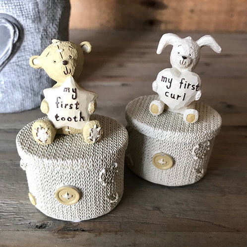 My First Tooth and Curl Keepsake Boxes Bear and Bunny