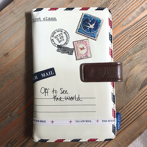 Paper Plane Off To See The World Travel Wallet Passport Holder Front Cover