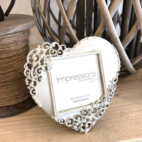 Filigree Heart Photo Frame Cream Cut Out Design Wedding Gift Love Side View