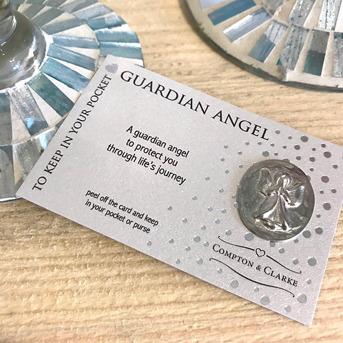 Guardian Angel Pewter Pocket Charm To Protect You Through Life's Journey