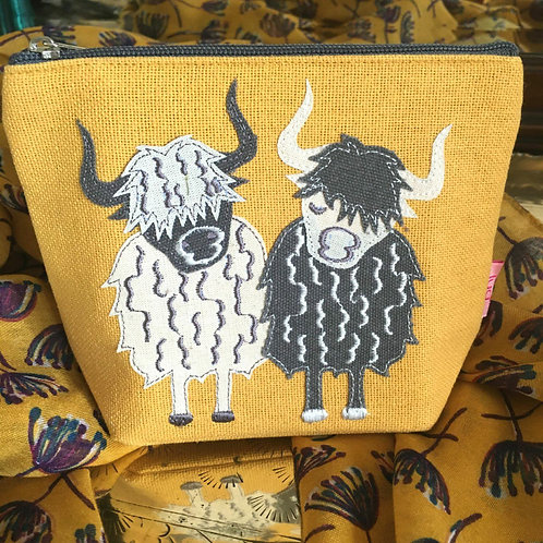 Mustard highland cow cosmetic make-up bag