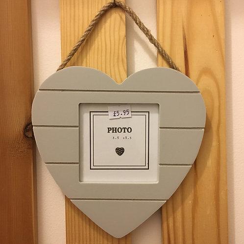 Grey Grooved Hanging Heart Frame Photo Wood Gift Shop Hinckley
