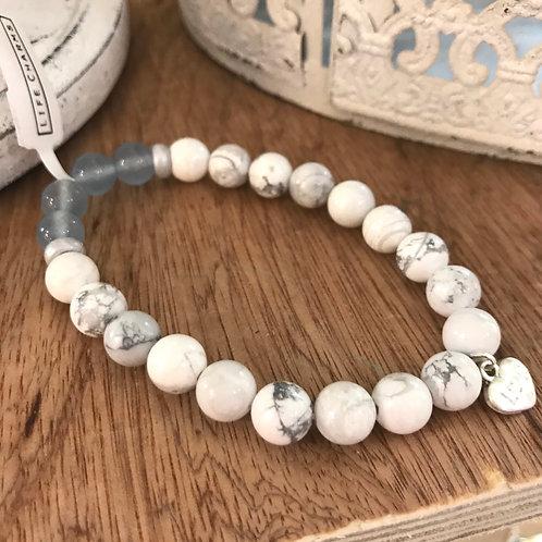 White Semi-Precious Stone Bracelet
