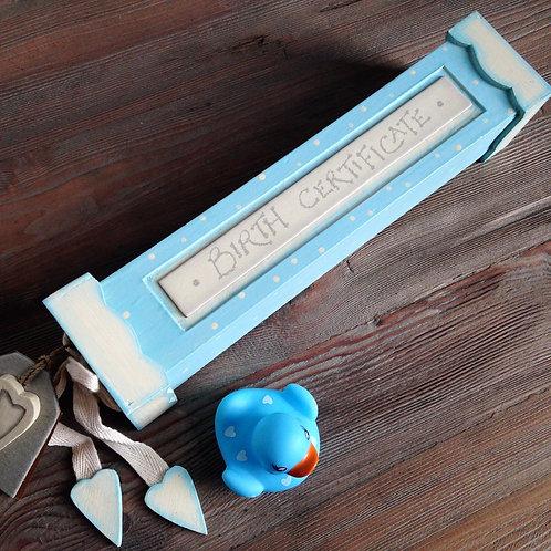 East Of India Birth Certificate Holder Box Baby Boy Keepsake Gift Newborn Blue Top View