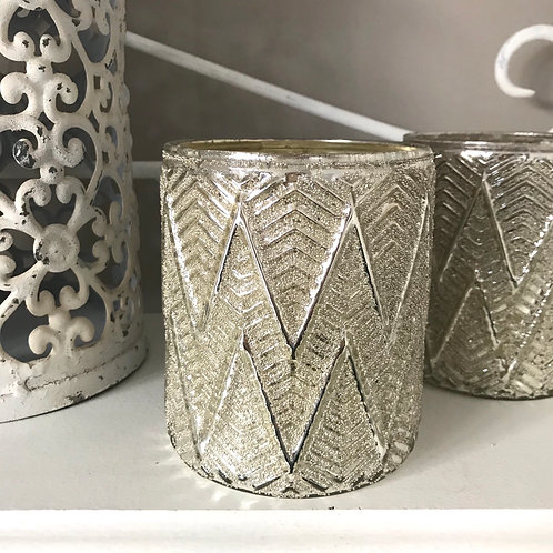 Silver Chevron Candle Holder