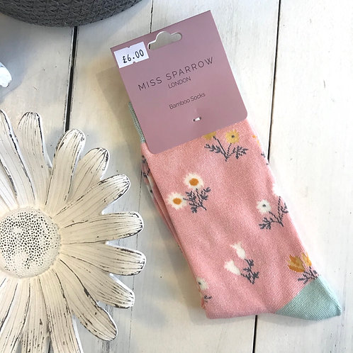 Dusky Pink Dainty Floral Socks