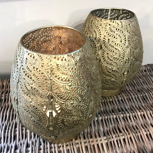 Pierced Gold Candle Holder