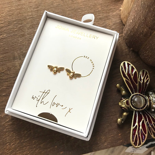 Bee Happy Joma Jewellery Earrings Sterling Silver, Gold Plated Bee Studs Close-Up