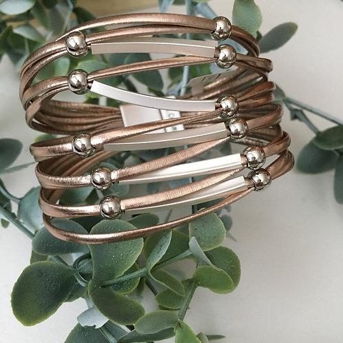 Pewter & Silver Wrap Bracelet