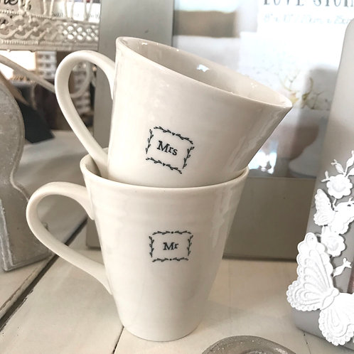 Mr And Mrs Porcelain East Of India Set Of Two Mugs Wedding Gift Stacked Together